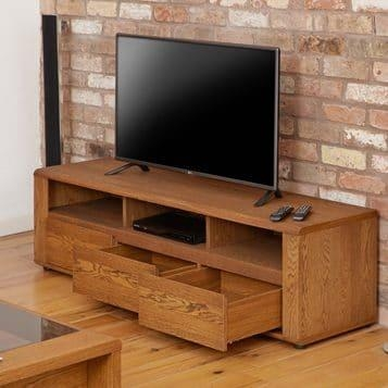 Olten Large Tv Cabinet With Three Drawers – Oak Finish • Akd Furniture In 2017 Large Tv Cabinets (Image 15 of 20)