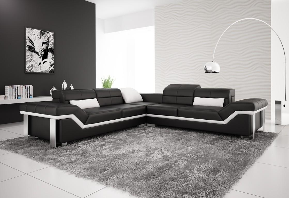 Olympian Sofas Rimini Black Leather Corner Sofa With Large Black Leather Corner Sofas (Image 20 of 22)