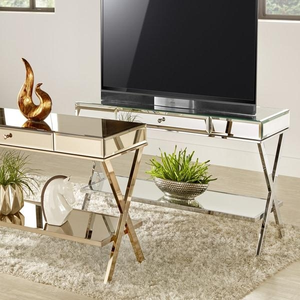 Omni X Base Mirrored Tv Stand With Drawerinspire Q Bold – Free Throughout Newest Mirrored Tv Stands (Image 16 of 20)