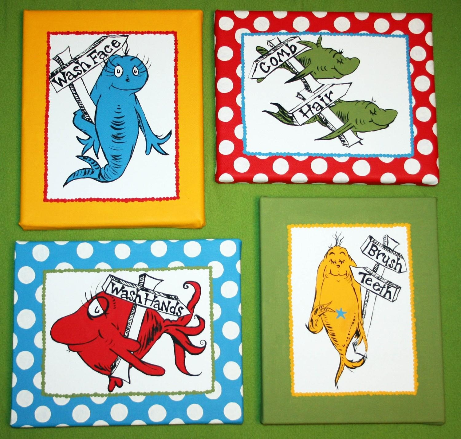 One Fish Two Inspired Set Of 4 Dr Seuss Bathroom Within