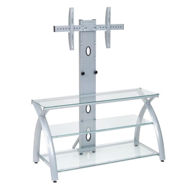 Online Catalog » Futura Tv Stand With Tower (Silver/clear Glass) Inside Newest Clear Glass Tv Stand (View 10 of 20)