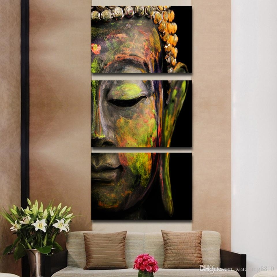 Online Cheap Buddha Oil Painting Wall Art Paintings Picture Intended For Multi Piece Canvas Wall Art (Image 11 of 20)