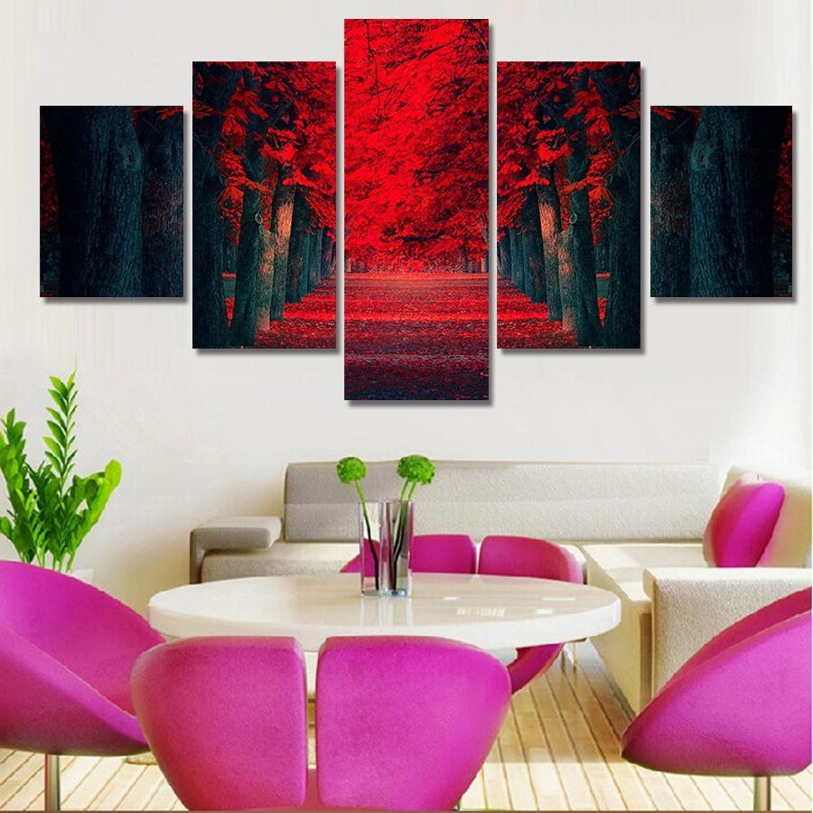 Online Get Cheap Wall Art Canvas Abstract Red Aliexpress Within Five Piece Wall Art (View 10 of 20)