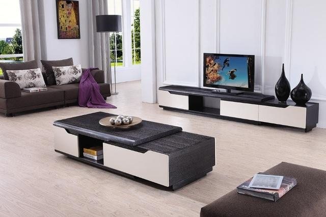 Online Shop Lizz Contemporary Living Room Furniture Tv Stand And Throughout  Trendy Tv Cabinets And Coffee