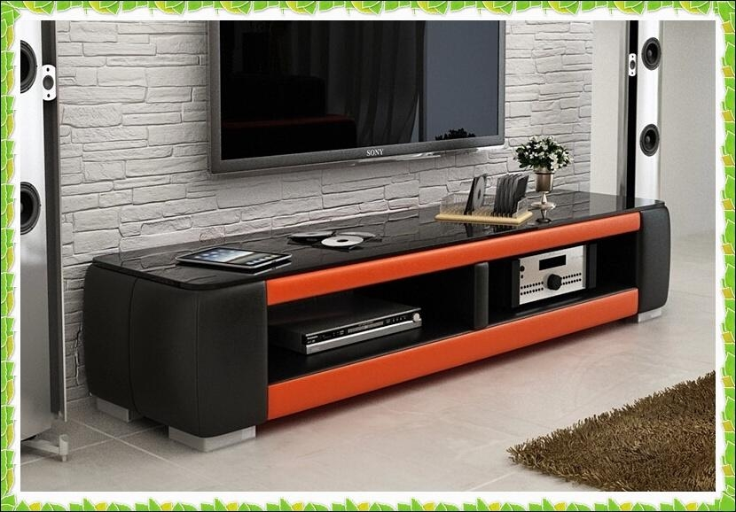 Online Shop Luxury Black Orange Leather Tv Stands Hot Selling Pertaining To Most Recently Released Orange Tv Stands (View 4 of 20)