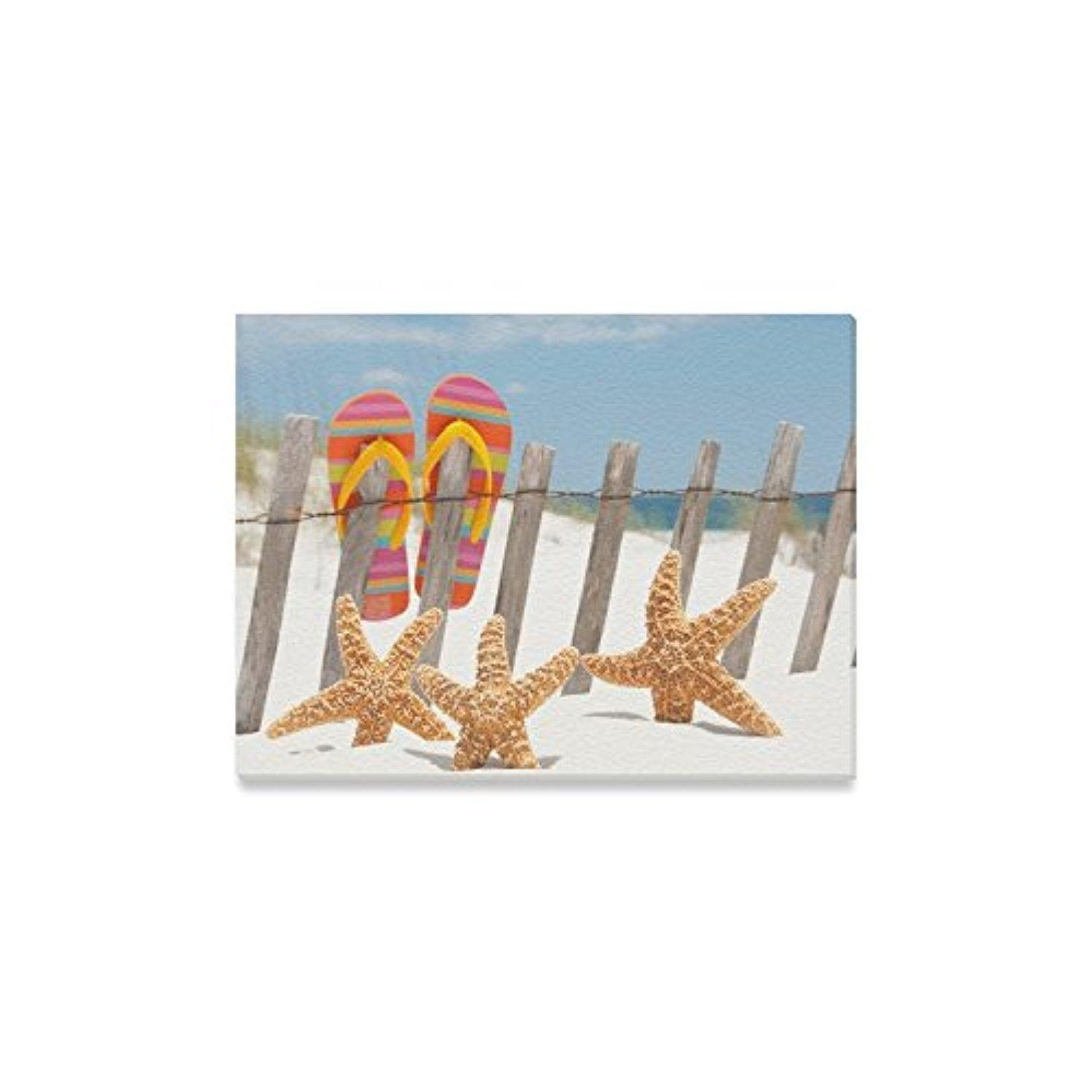 Online Store: Christmas Decor Beach Flip Flops Starfish Sunrise Within Flip Flop Wall Art (View 13 of 20)