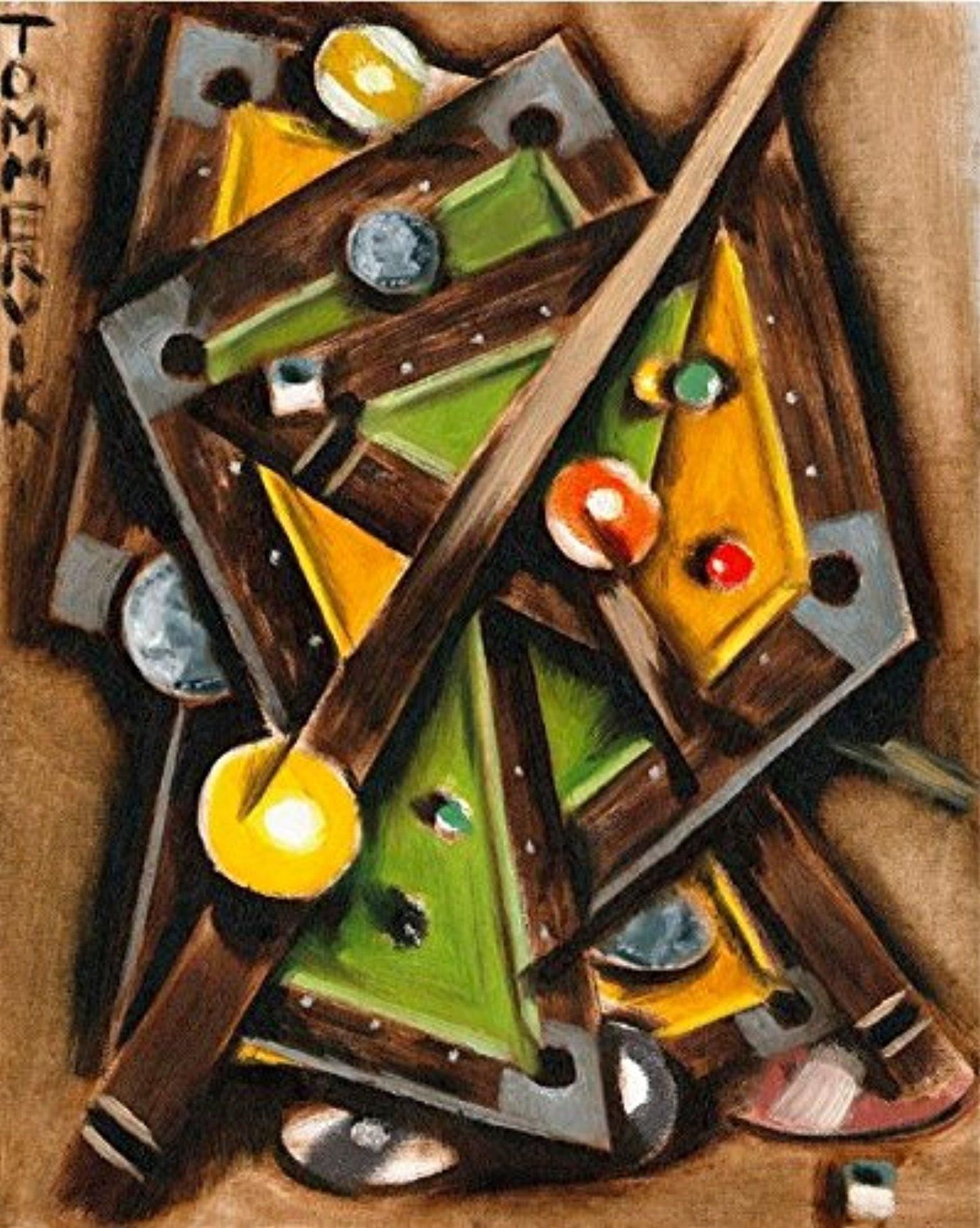 Online Store: Tommervik Abstract Cubism Pool Table Art Billiard Intended For Billiard Wall Art (View 16 of 20)