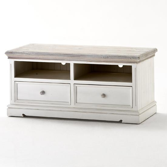 Opal Wooden Tv Cabinet In White Pine With 2 Drawers 25378 In Current White Wood Tv Stands (Image 12 of 20)