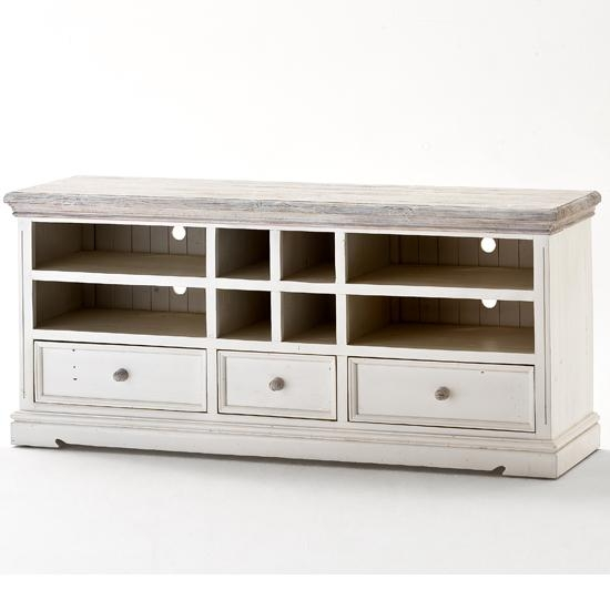 Opal Wooden Tv Cabinet In White Pine With Drawers And In Latest White And Wood Tv Stands (View 3 of 20)