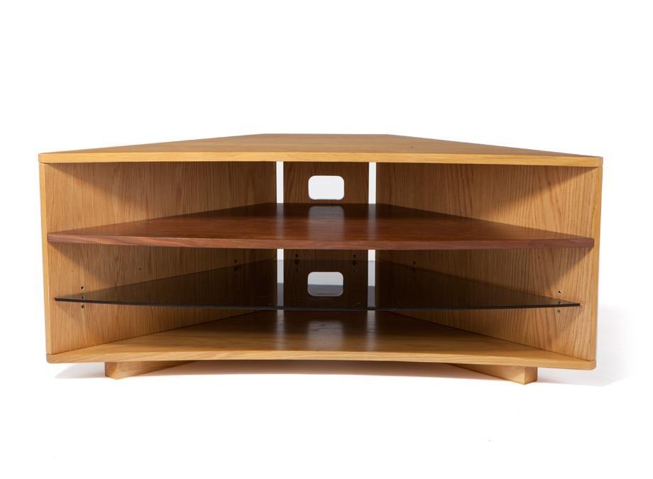 Optimum Cave Corner Oak Tv Stand W/ Walnut Shelf – Wood Tv Stands Regarding Most Recent Walnut Corner Tv Stands (View 20 of 20)