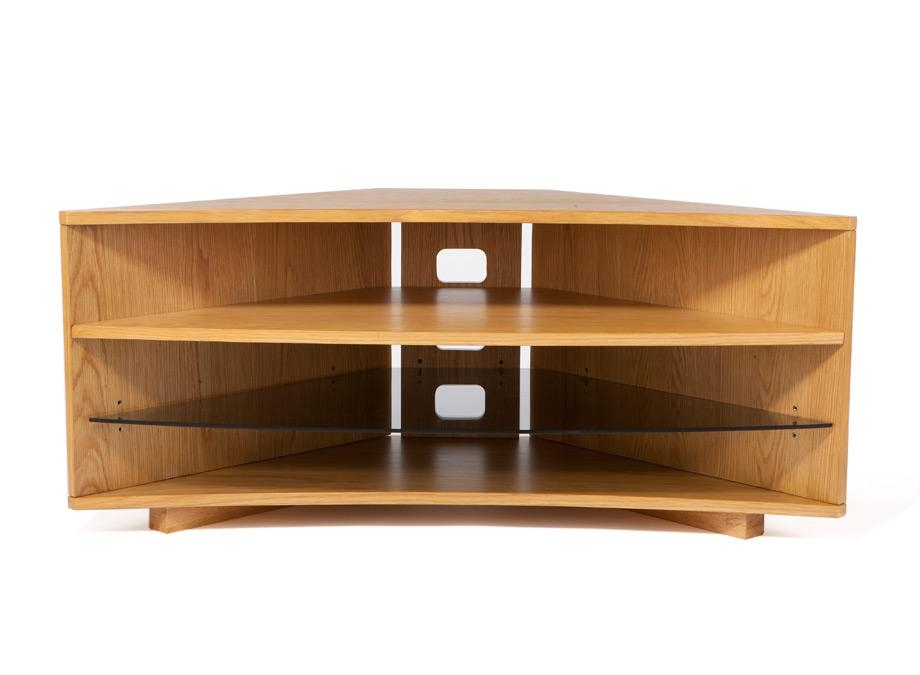 Optimum Cave Corner Oak Tv Stand – Wood Tv Stands – Audiovisual Throughout Best And Newest Glass And Oak Tv Stands (View 19 of 20)