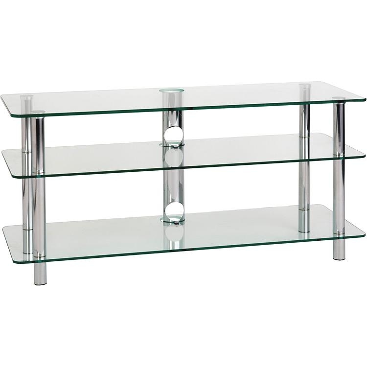 "Optimum"" Tv1100 3 Clear Glass Tv Stand, 25 – Trading Post Regarding 2018 Clear Glass Tv Stand (View 8 of 20)"