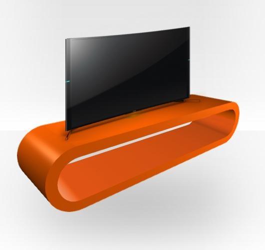 Orange Gloss Tv Stand – Zestretch Hoop – Free Uk Delivery – Zespoke Regarding Most Current Orange Tv Stands (View 2 of 20)