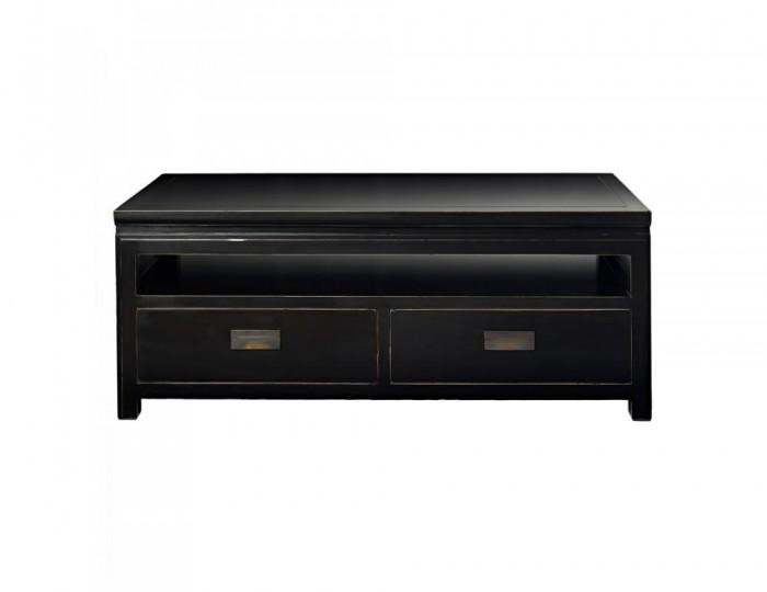 Orient Small Black Lacquer Tv Entertainment Unit With Storage Drawers Inside Current Small Black Tv Cabinets (View 3 of 20)