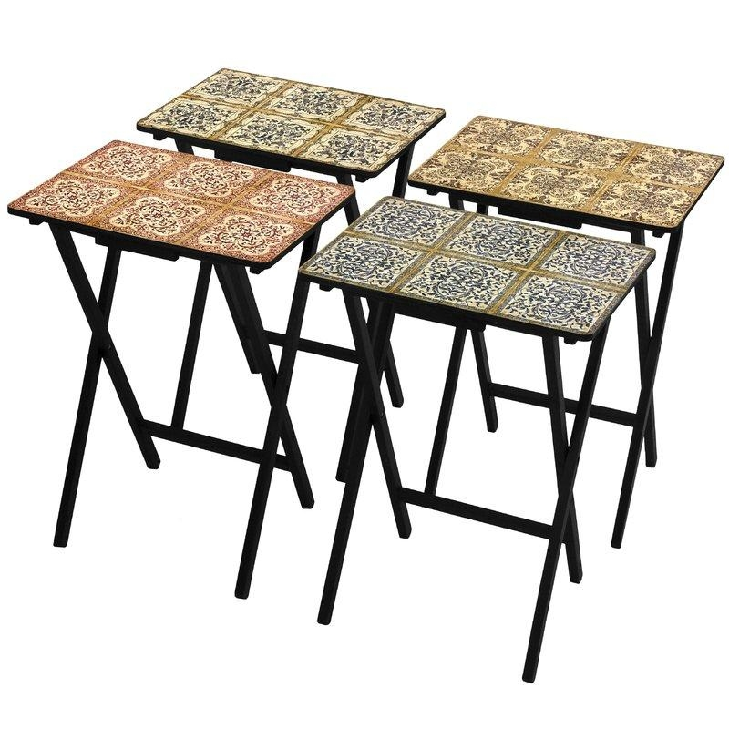 Oriental Furniture 4 Piece Victorian Tile Tv Tray Set With Stand In Recent Folding Tv Trays With Stand (Image 15 of 20)