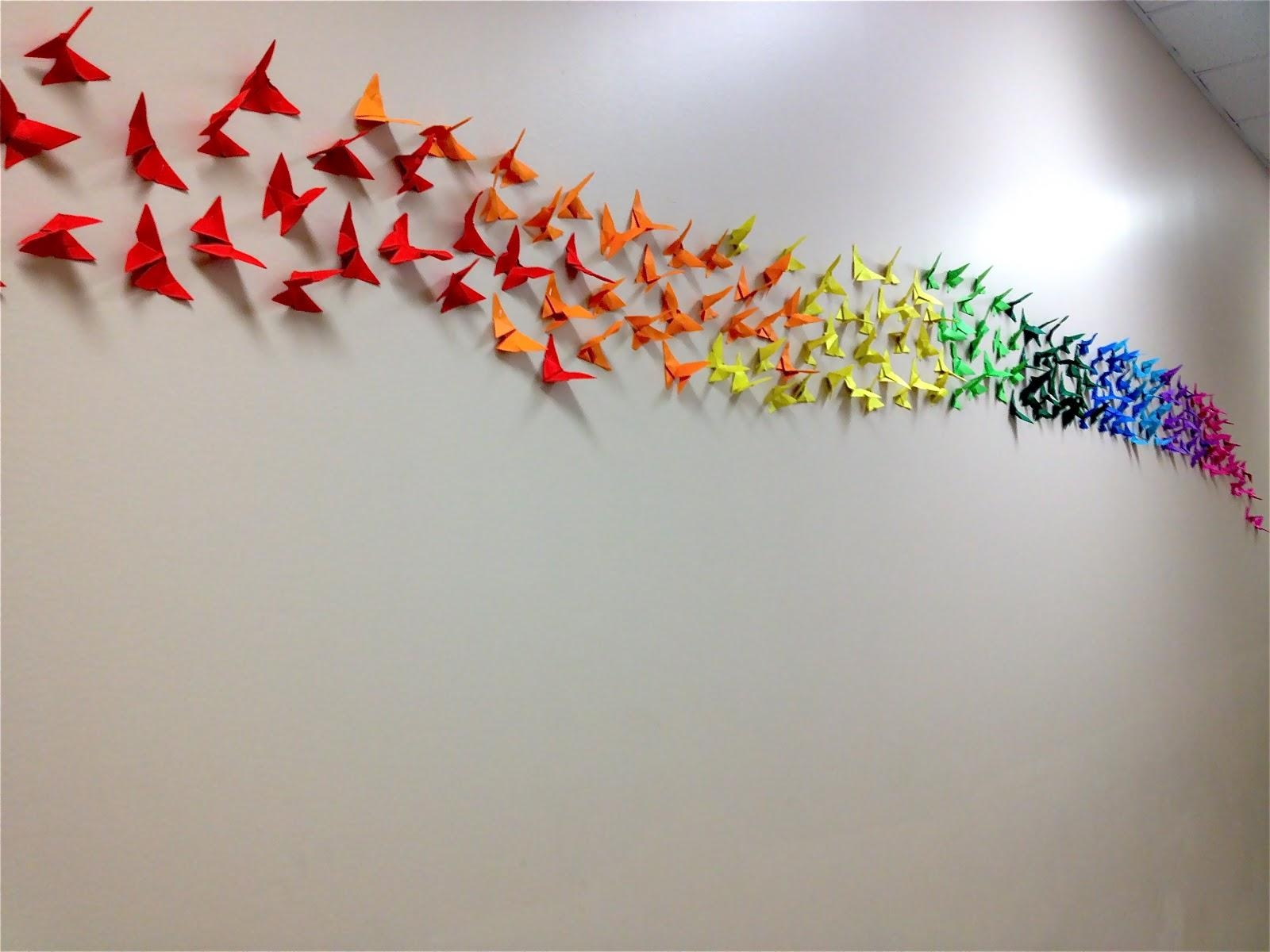 Origami Butterfly Rainbow Wall, 4Th & 5Th Grade | Art: School At regarding Rainbow Butterfly Wall Art