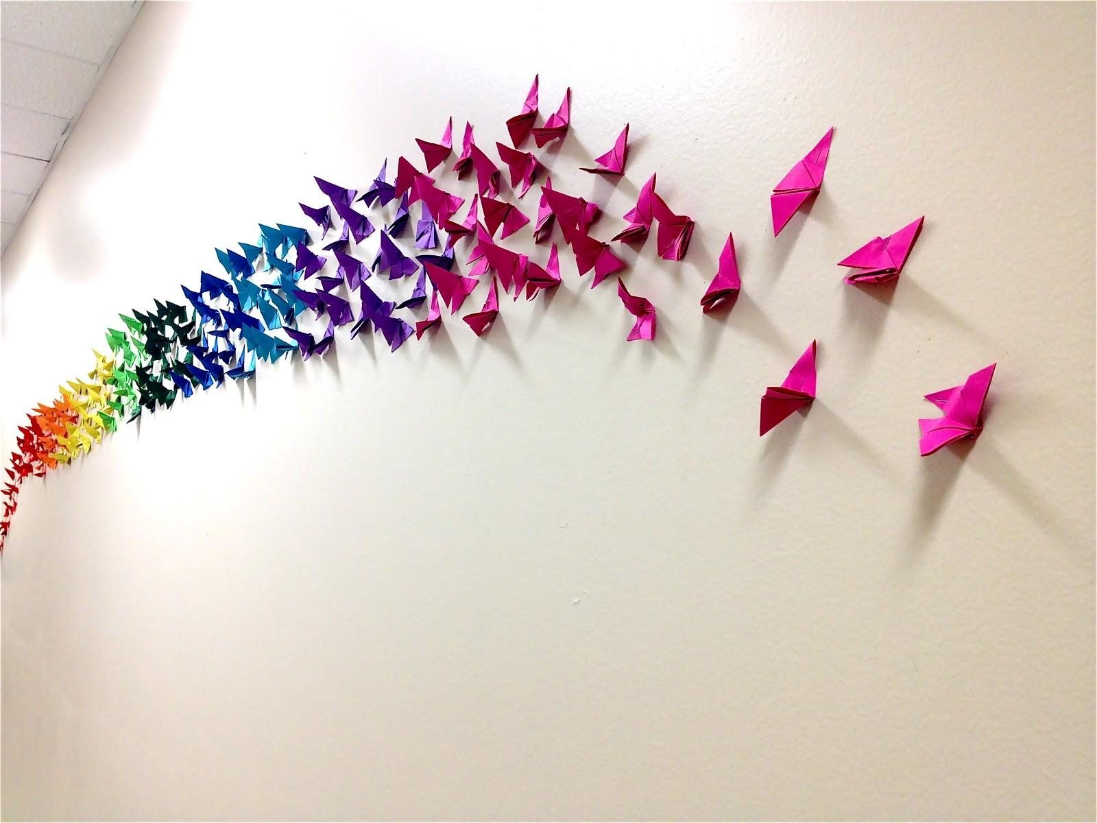Origami Butterfly Rainbow Wall, 4Th & 5Th Grade | Art: School At Throughout Rainbow Butterfly Wall Art (View 4 of 20)