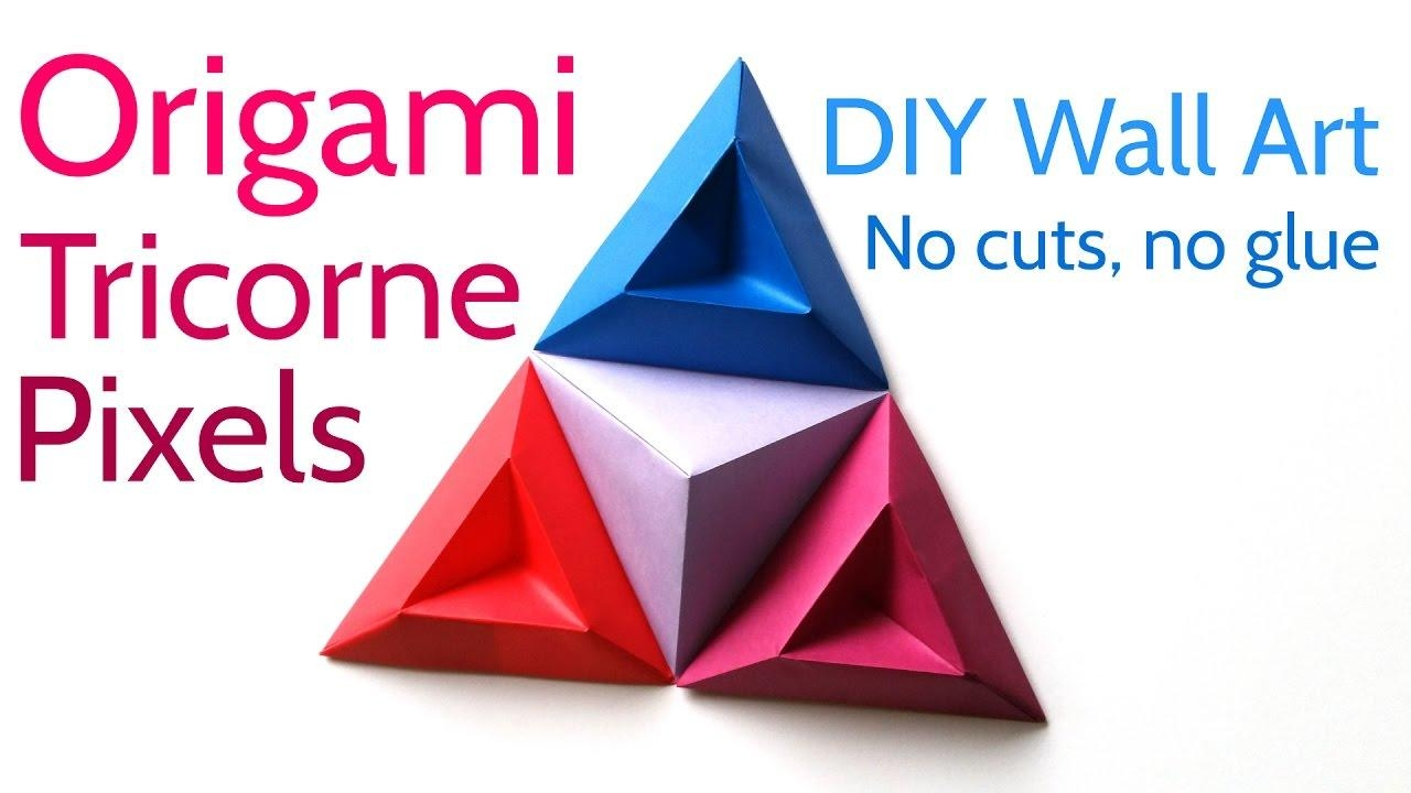 Origami Tricorne Pixels To Make Stunning Diy Paper Wall Art – Youtube Throughout Diy Origami Wall Art (Image 15 of 20)