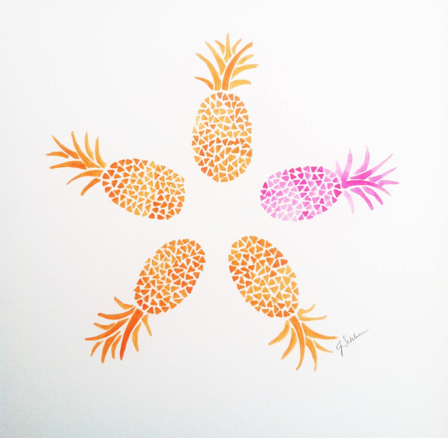 Original Hand Painted Pineapple Art Orange Pineapple Throughout Pineapple Metal Wall Art (Image 12 of 20)