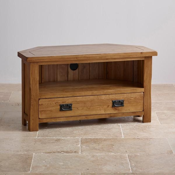 Original Rustic Corner Tv Cabinet In Solid Oak Throughout Most Popular Oak Tv Cabinets With Doors (View 19 of 20)