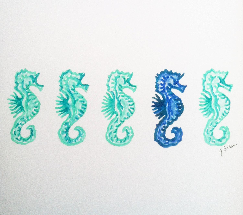 Original Seahorse Watercolor Painting Seahorse Art Beach For Sea Horse Wall Art (Image 8 of 20)