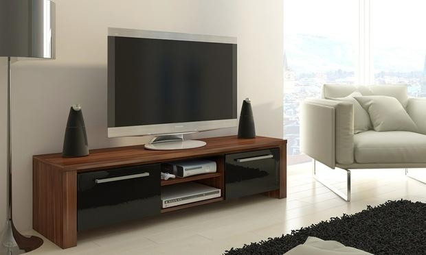 Orlando Tv Cabinet | Groupon Goods With Most Recently Released Walnut And Black Gloss Tv Unit (View 17 of 20)