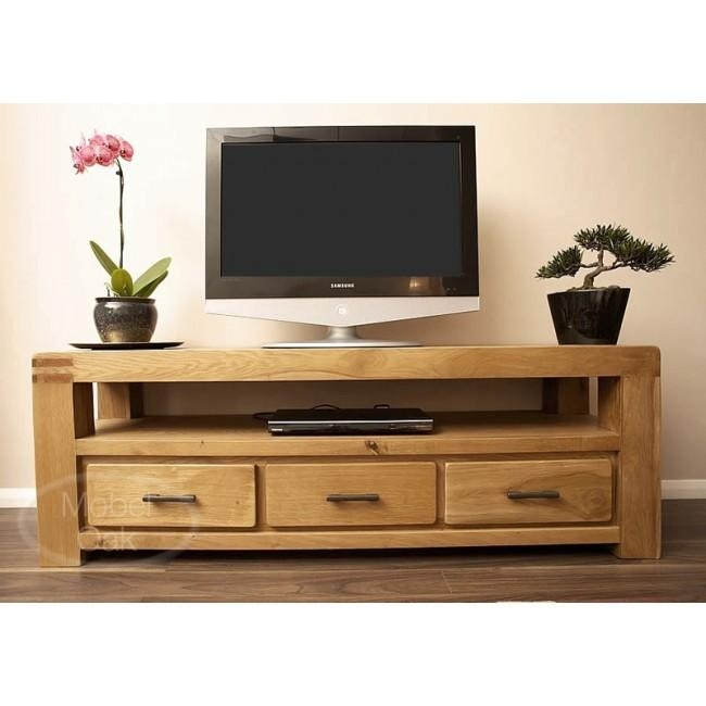 Oslo Rustic Oak Large Tv Stand Cabinet | Best Price Guarantee Throughout Latest Oak Tv Cabinets (Image 15 of 20)