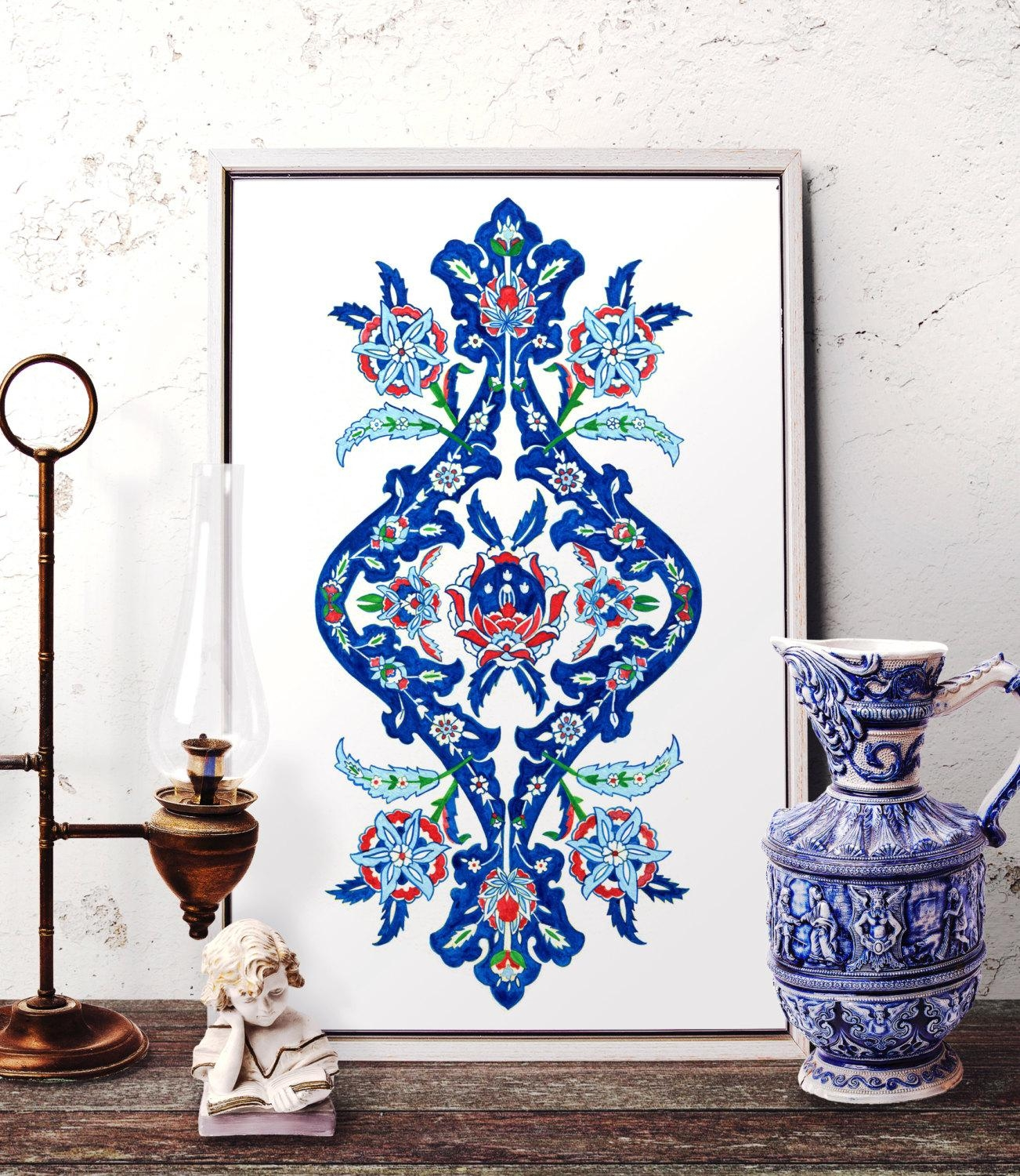 Ottoman Floral Motif Watercolor Painting Traditional Turkish Within Turkish Wall Art (View 10 of 20)