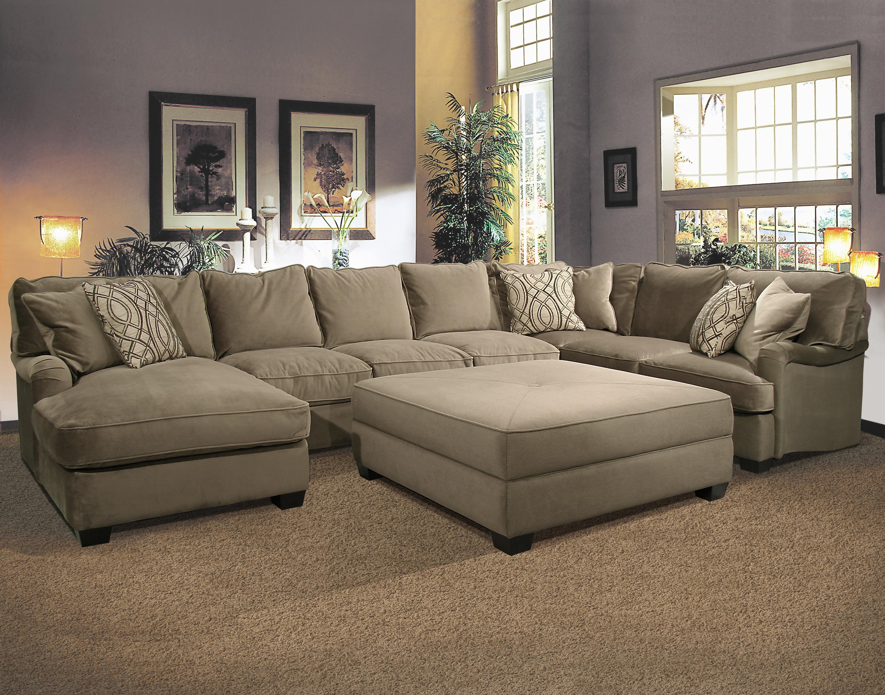 Ottoman : Simple Furniture U Mocha Fabric Sectional Sofa With In Cloth Sectional Sofas (View 20 of 21)