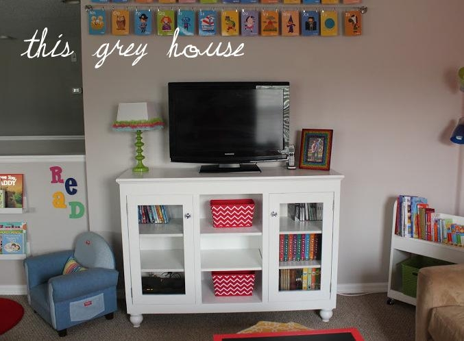 Our Bright And Fun Playroom: The Details | This Grey House Intended For Most Current Playroom Tv Stands (View 2 of 20)