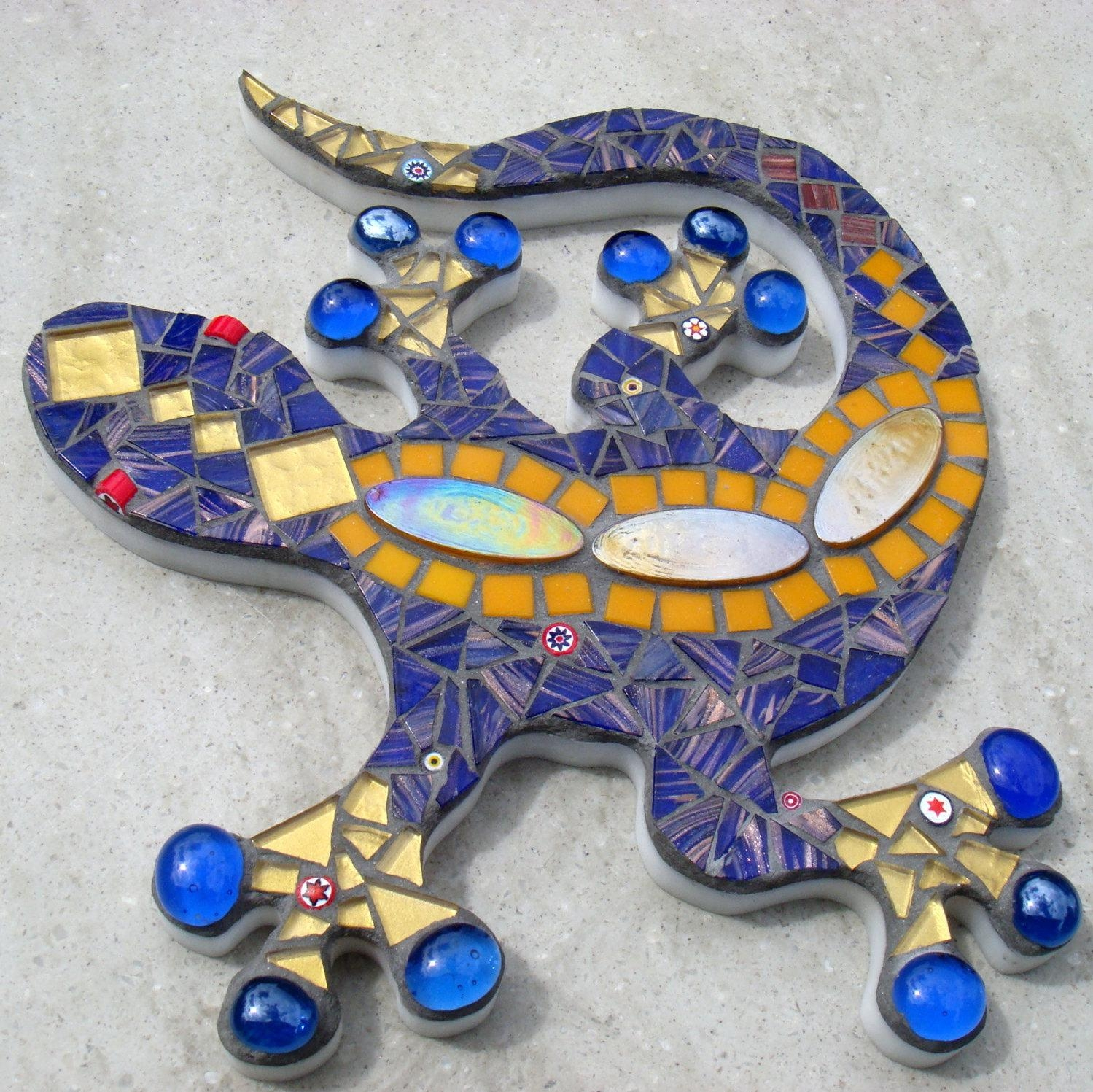 Outdoor Garden Decoration Ornament Mosaic Gecko Lizard Wall In Gecko Outdoor Wall Art (View 16 of 20)