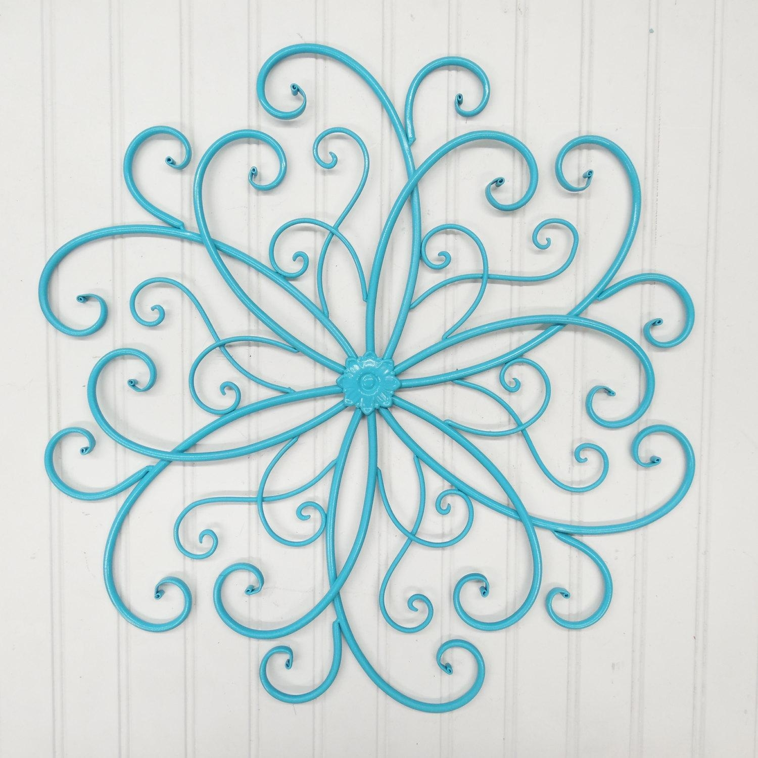 Outdoor Metal Wall Art/wall Decor/faux Wrought Iron/metal Wall Inside Teal Metal Wall Art (Image 9 of 20)