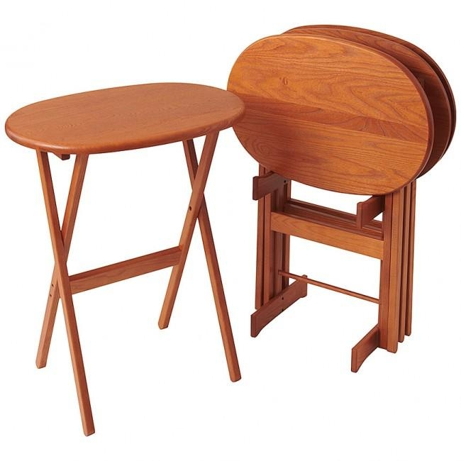 Oval Tv Table Set – Folding Solid Wood Trays | Manchester Wood Within 2018 Folding Wooden Tv Tray Tables (Image 13 of 20)