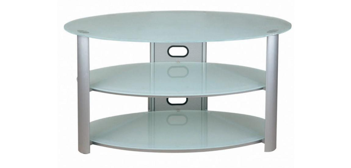 Oval White Frosted Glass Tv Stand V Hold 8New Spec Intended For Current White Oval Tv Stands (Image 15 of 20)