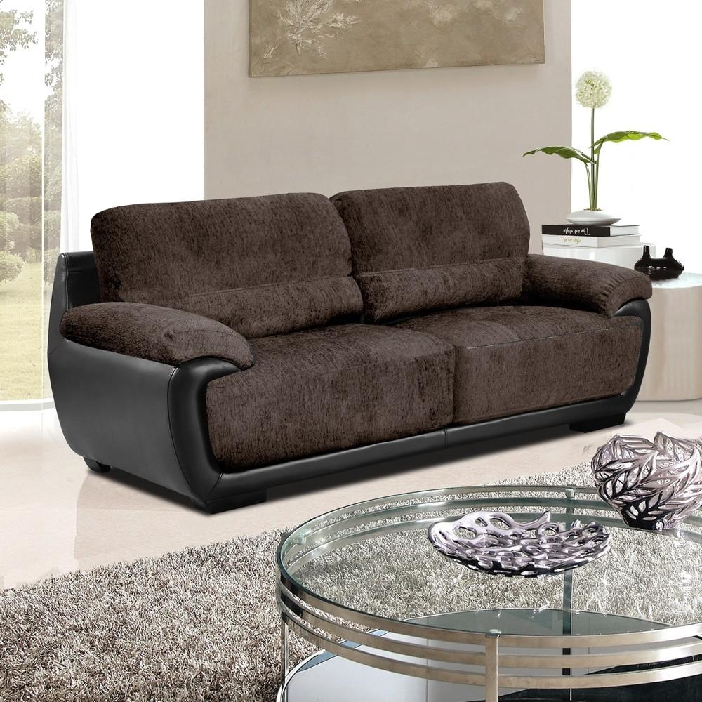 Overton Chenille Brown Fabric Sofas With Black Leather Match Trim Intended For Leather And Material Sofas (Image 15 of 21)