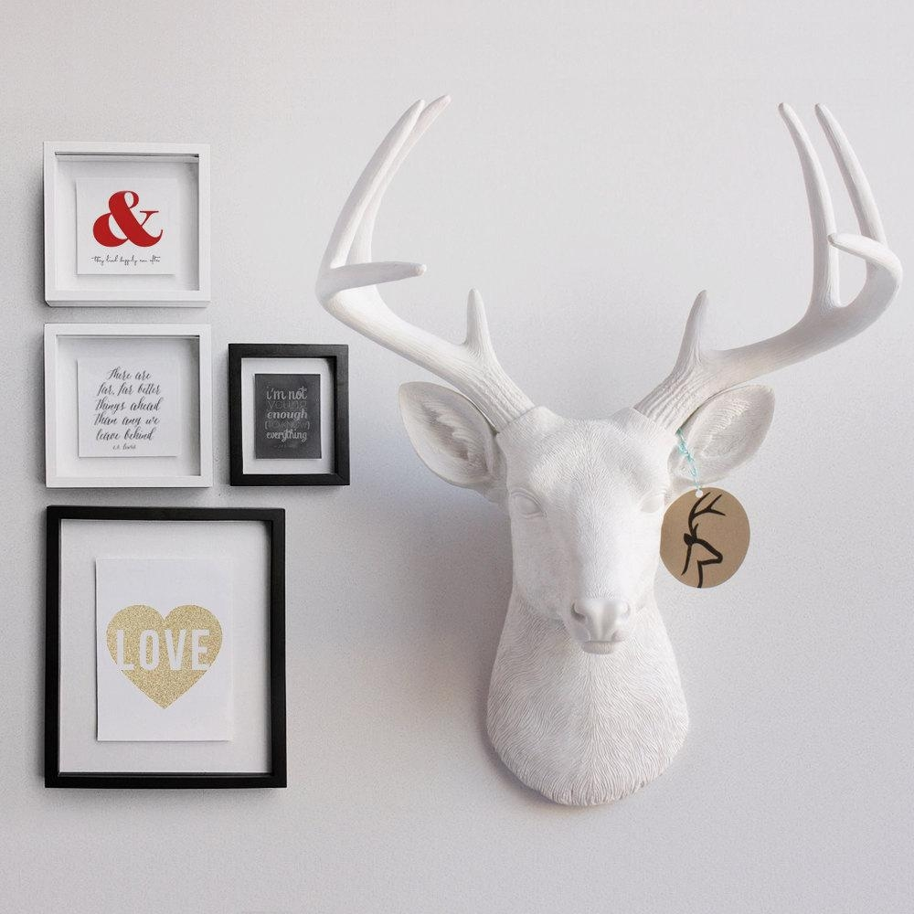 Overwhelming Home Interior Design Identifying Graceful White Resin Inside Resin Animal Heads Wall Art (View 6 of 20)