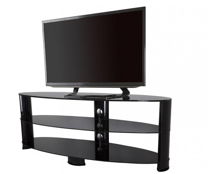 Ovl1400Bb: Reflections – Oval Glass Tv Stand – Tv Stands Within Most Recent Oval Glass Tv Stands (Image 16 of 20)