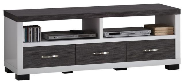 Oxley 2 Tone White And Dark Brown Entertainment Tv Cabinet, 3 With Regard To Newest Black Tv Cabinets With Drawers (Image 17 of 20)