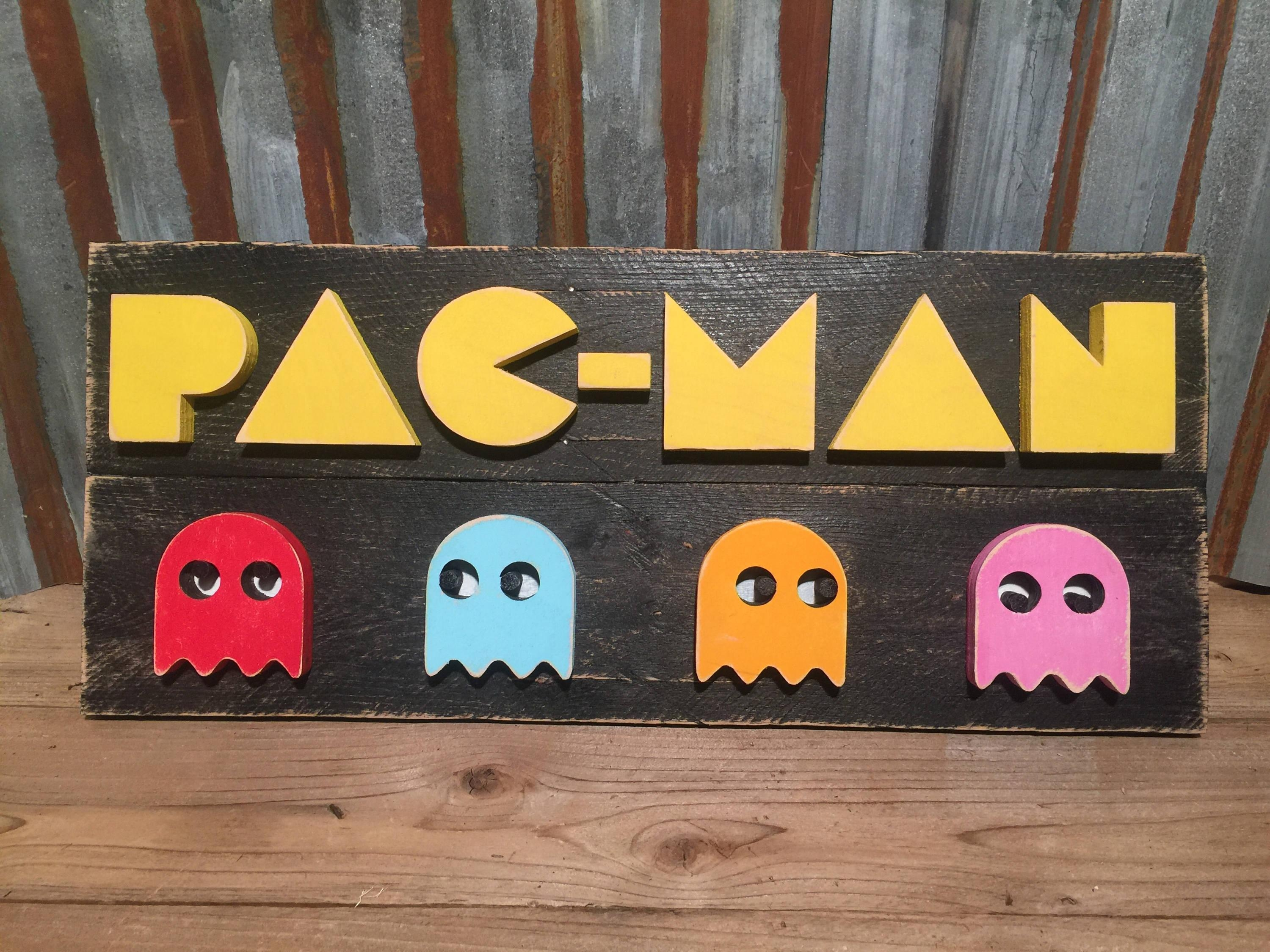 Pac Man Video Game Wood Sign Wall Art Gaming Signs Throughout Arcade Wall Art (View 19 of 20)