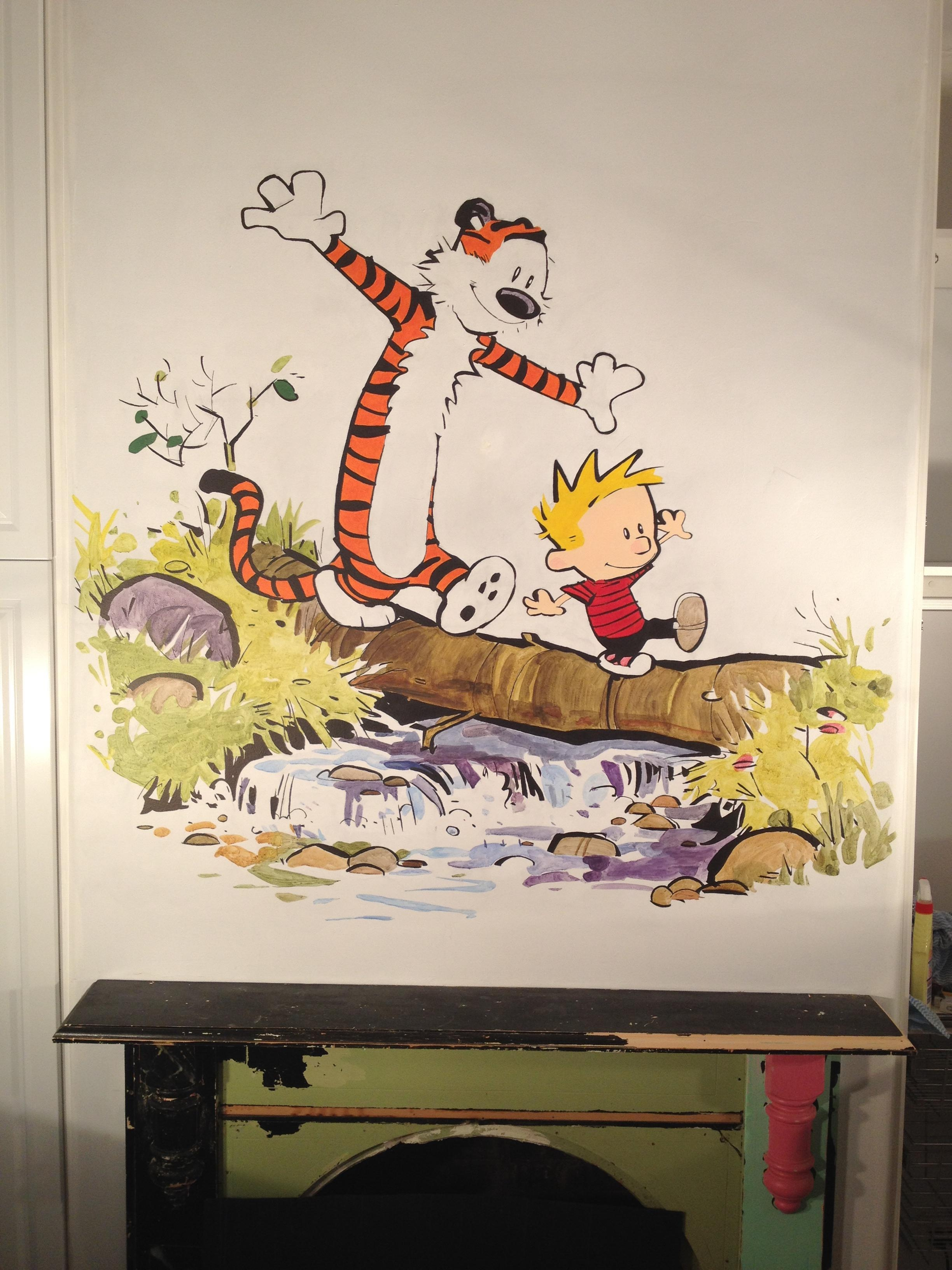 Painted A Calvin And Hobbes Wall Mural For My Daughters Room With Regard To Calvin And Hobbes Wall Art (Image 18 of 20)