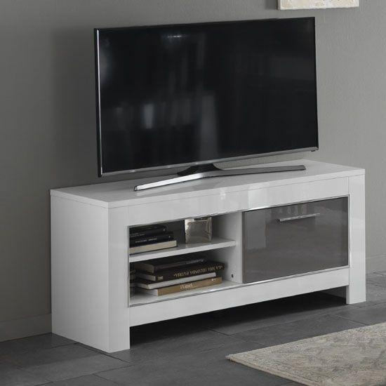 Palermo – Tv Unit In Oak Grey Finish With Led Lights | Tv Stand With Regard To 2017 Small White Tv Cabinets (View 7 of 20)