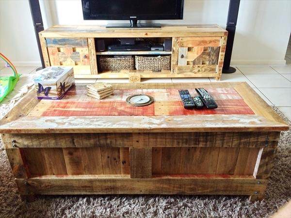 Pallet Coffee Table With Matching Tv Cabinet | Wooden Pallet Furniture With Recent Matching Tv Unit And Coffee Tables (View 18 of 20)