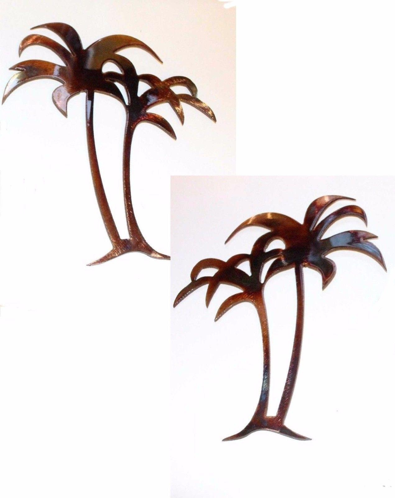 "Palm Trees Mirrored Pair 30"" Tall Metal Wall Art Decor Inside Palm Tree Metal Wall Art (Image 14 of 20)"