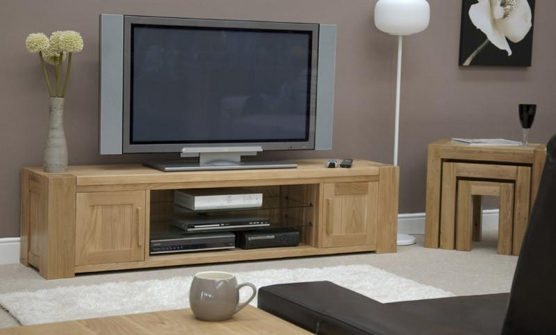 Pandora Solid Oak Plasma Tv Stand (Large) – Oak Furniturehouse Inside Current Solid Oak Tv Cabinets (Image 12 of 20)