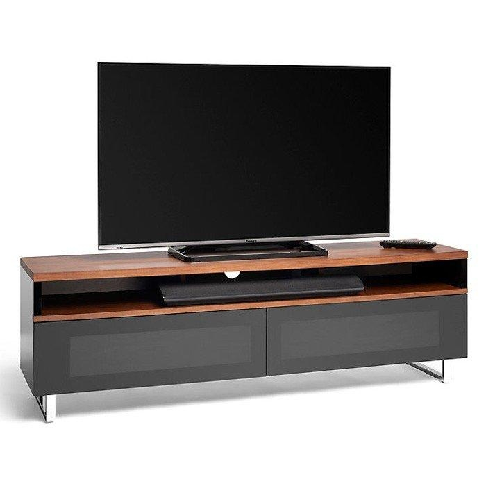 Panorama Pm160+ Piano Gloss Black And Walnut Large Tv Cabinet (406426) Throughout Most Current Walnut Tv Cabinet (Image 14 of 20)