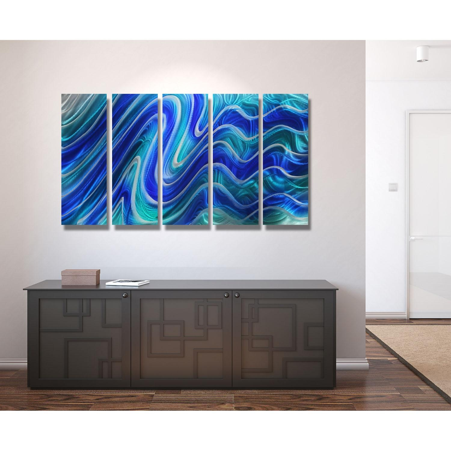 Paradise Plunge – Blue, Teal And Silver Metal Wall Art – 5 Panel Inside Turquoise Metal Wall Art (Image 8 of 20)