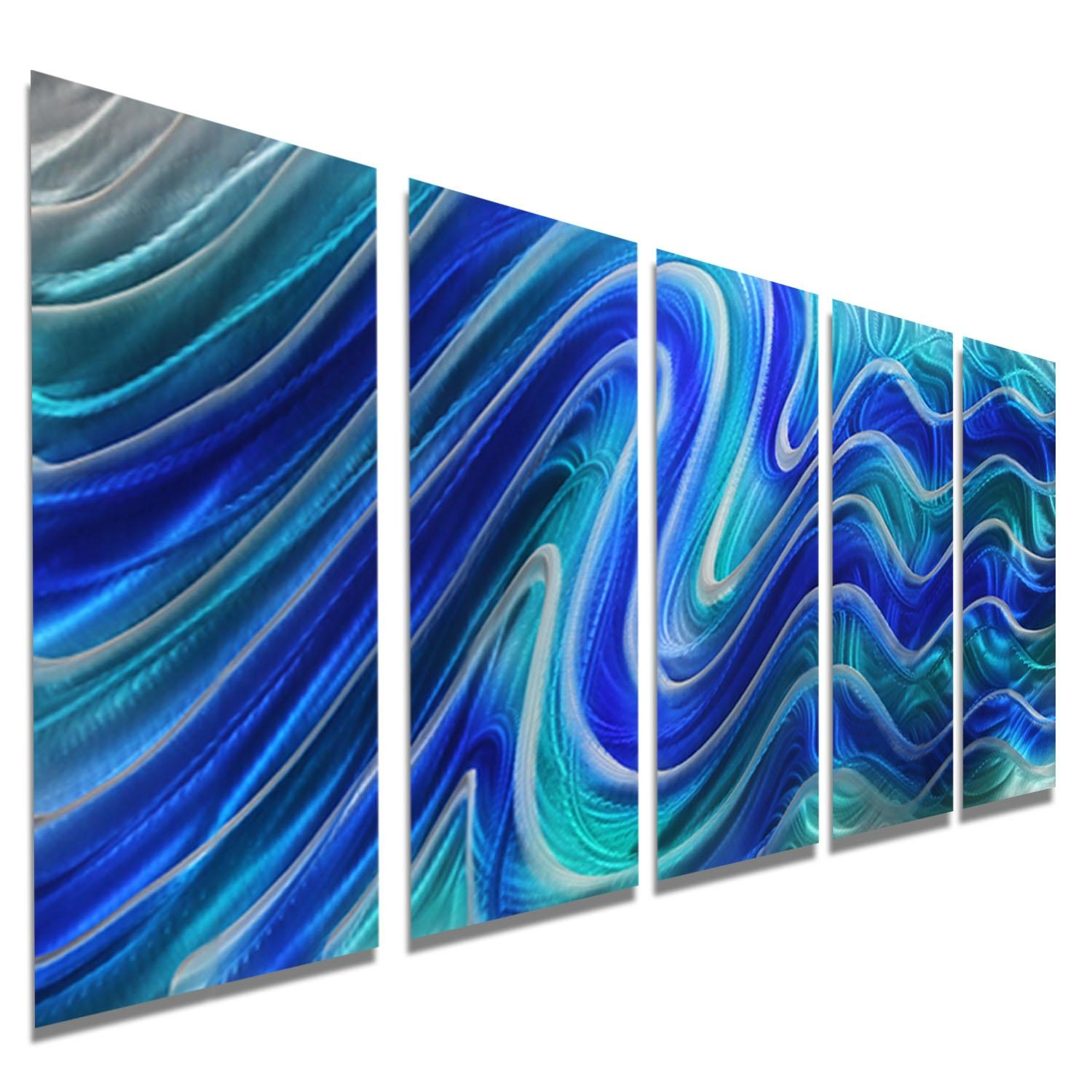 Paradise Plunge – Blue, Teal And Silver Metal Wall Art – 5 Panel Intended For Teal Metal Wall Art (Image 11 of 20)