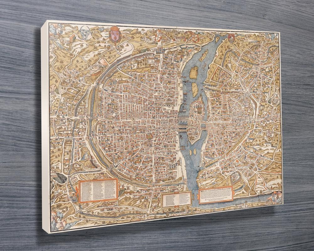 Paris 1550 Map Canvas Wall Art Print Pertaining To Map Of Paris Wall Art (Image 11 of 20)