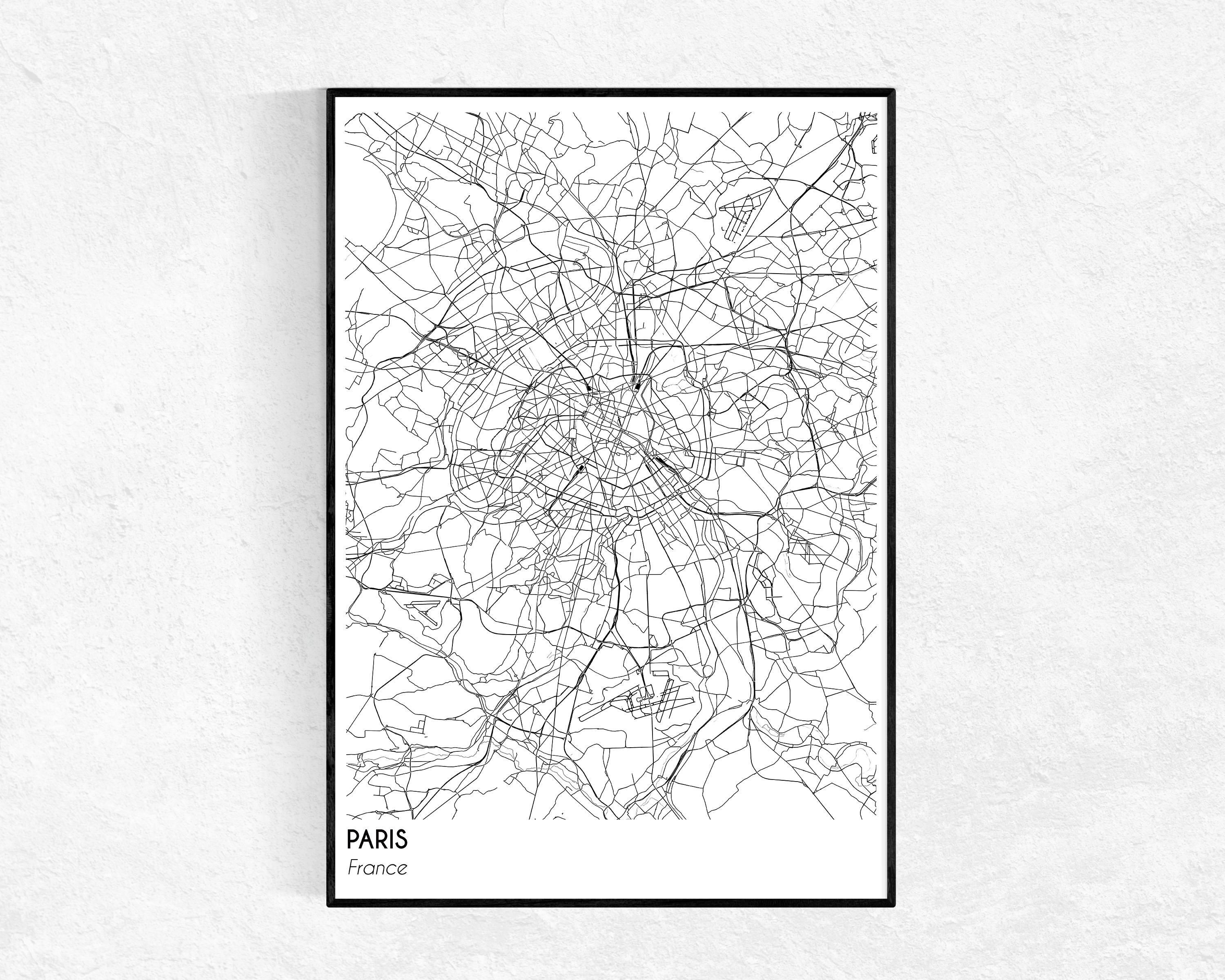Paris City Map Print City Map Poster Paris Map Modern Intended For Map Of Paris Wall Art (Image 12 of 20)