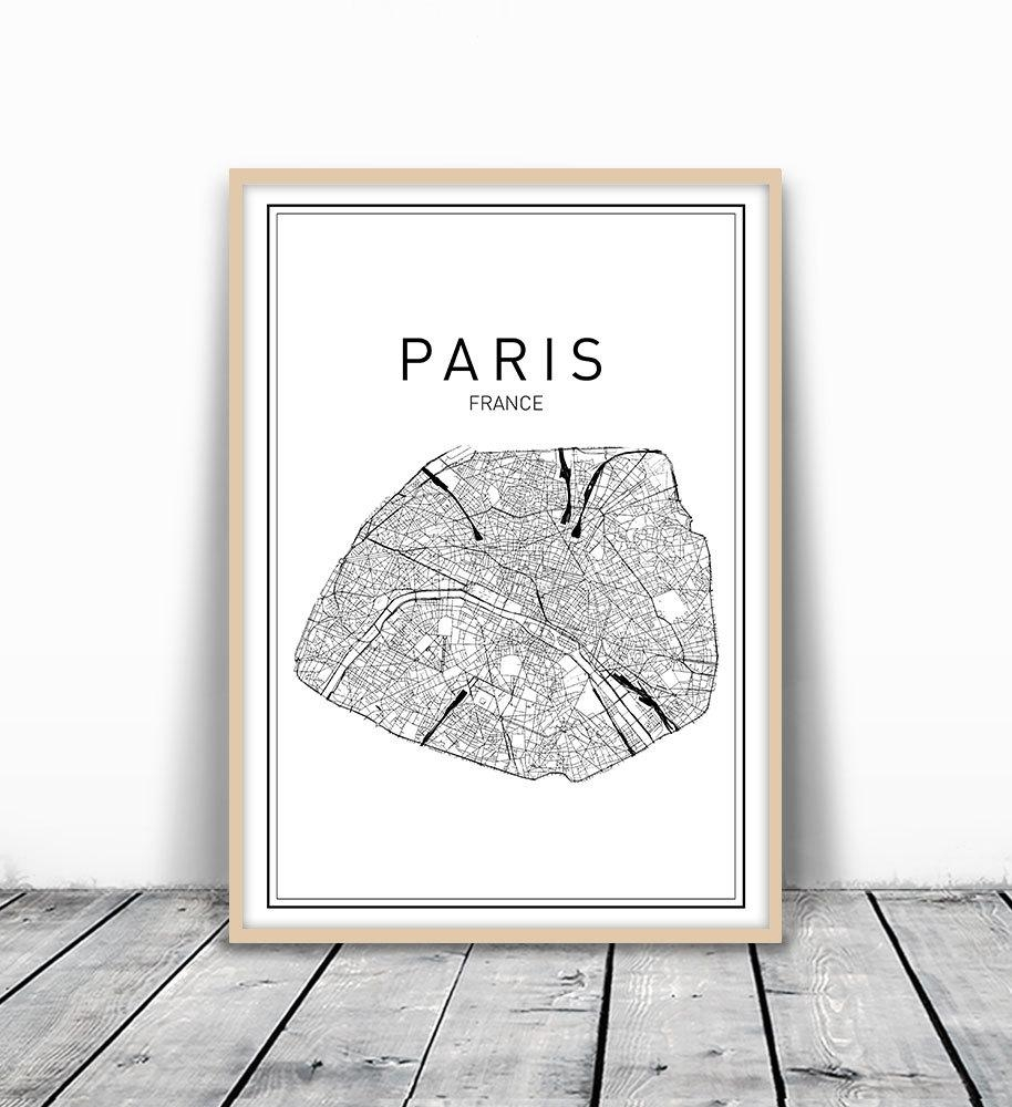 Paris Map Print City Map Wall Art Paris Map Art France In Map Of Paris Wall Art (Image 13 of 20)